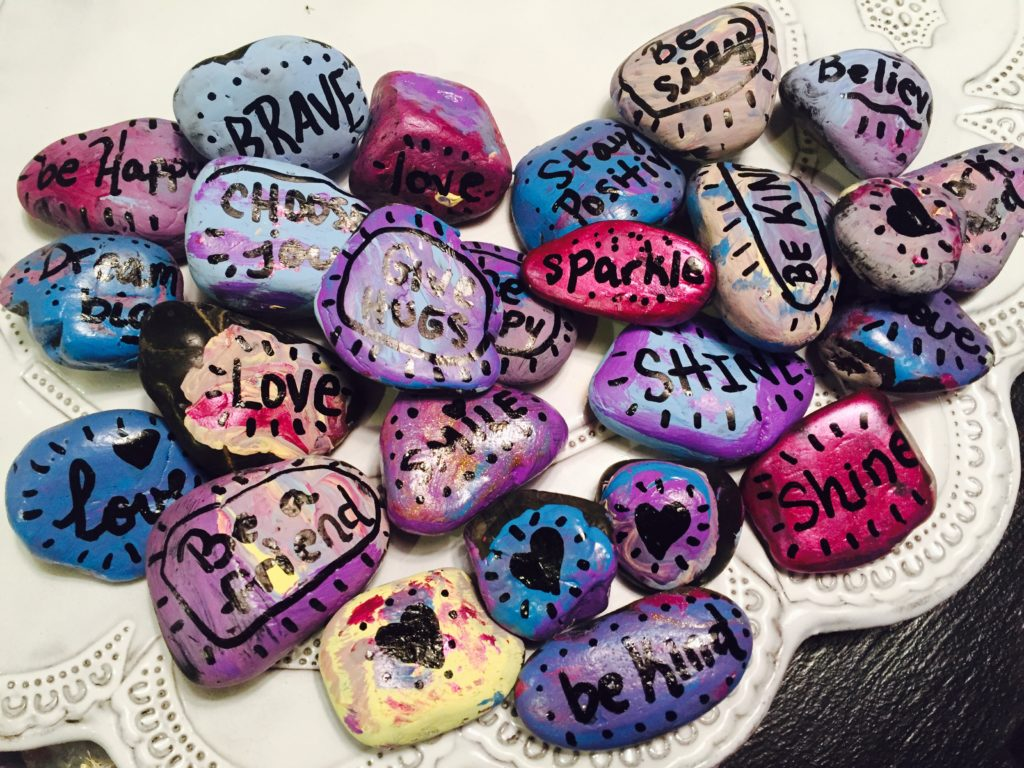 Kindness Rocks with Inspirational Words