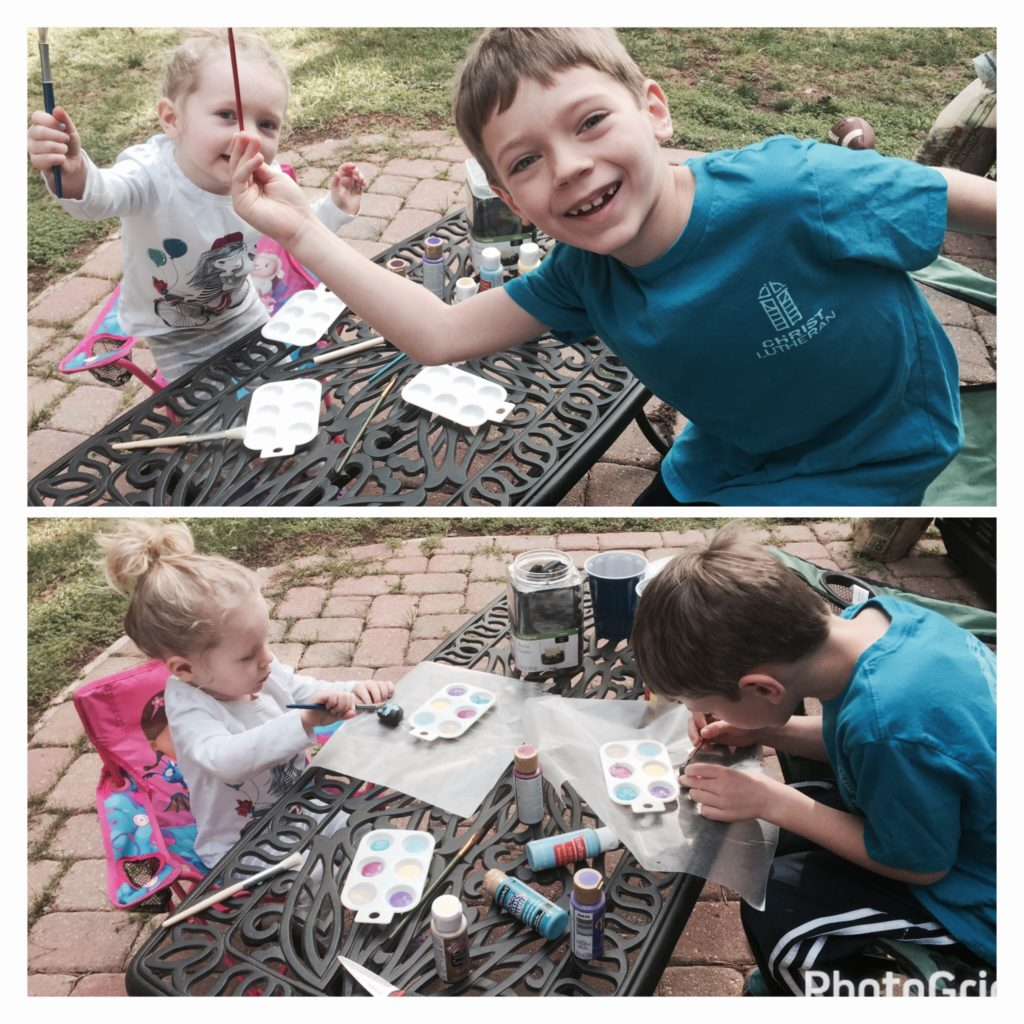Painting inspirational word rocks to spread the love and kindness.