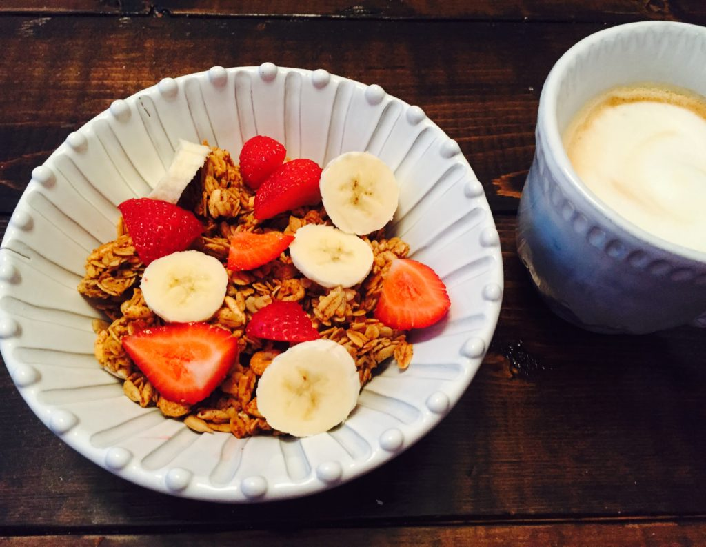 healthy breakfast of granola cereal