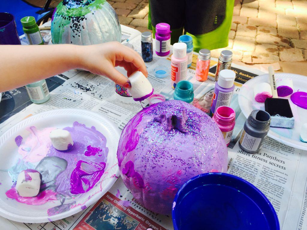 Marshmallow Painting on Pumpkins