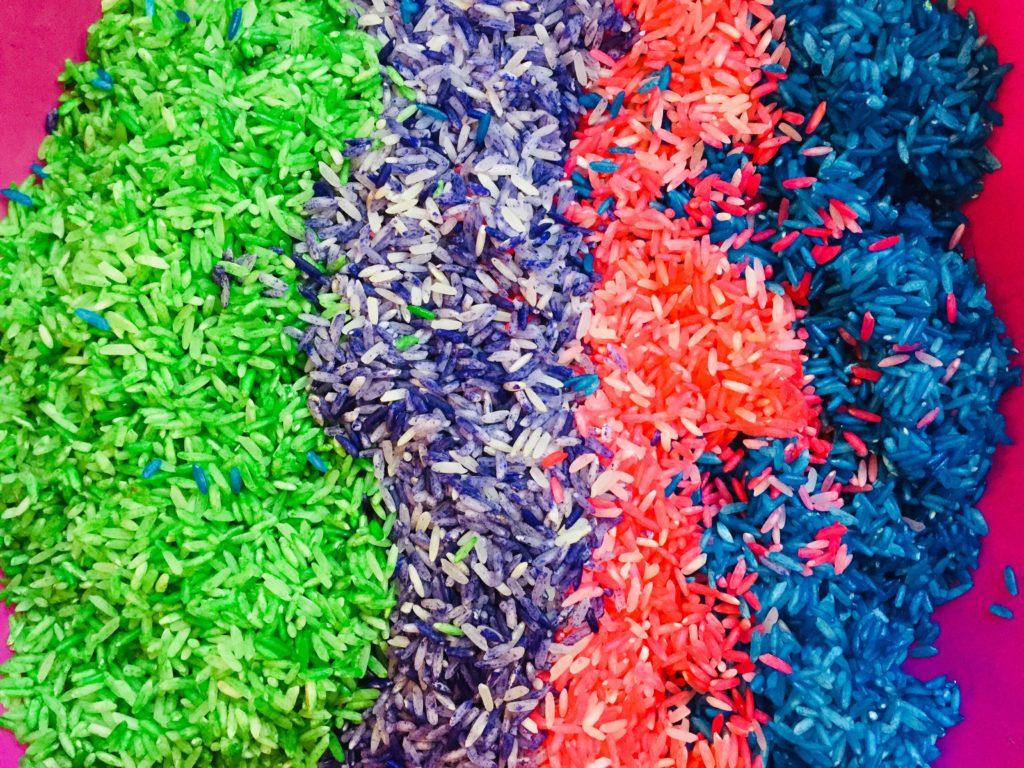 Colored Rice for Sensory Bin