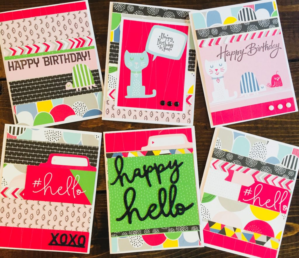 Happy Hello Cards Made from Paper Scraps