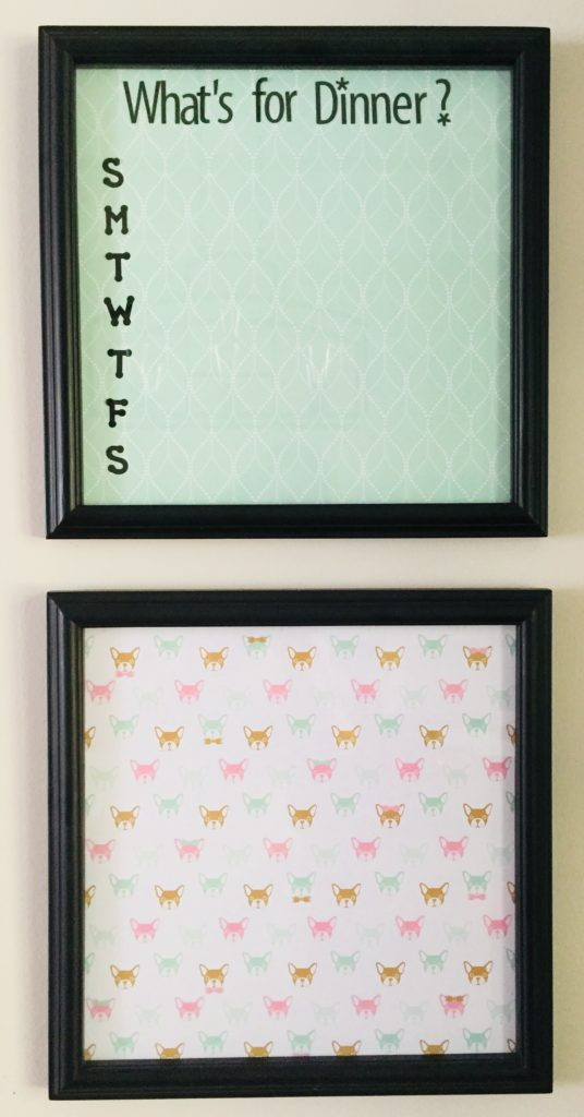 Easy to make DIY Dry Erase Menu Board. Great way to use stickers and scrapbooking paper.