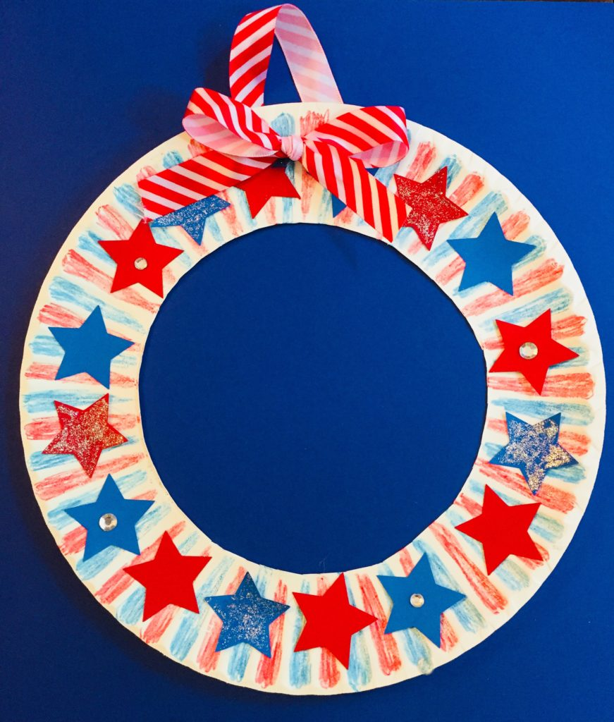 Patriotic Star Wreath Craft for Kids