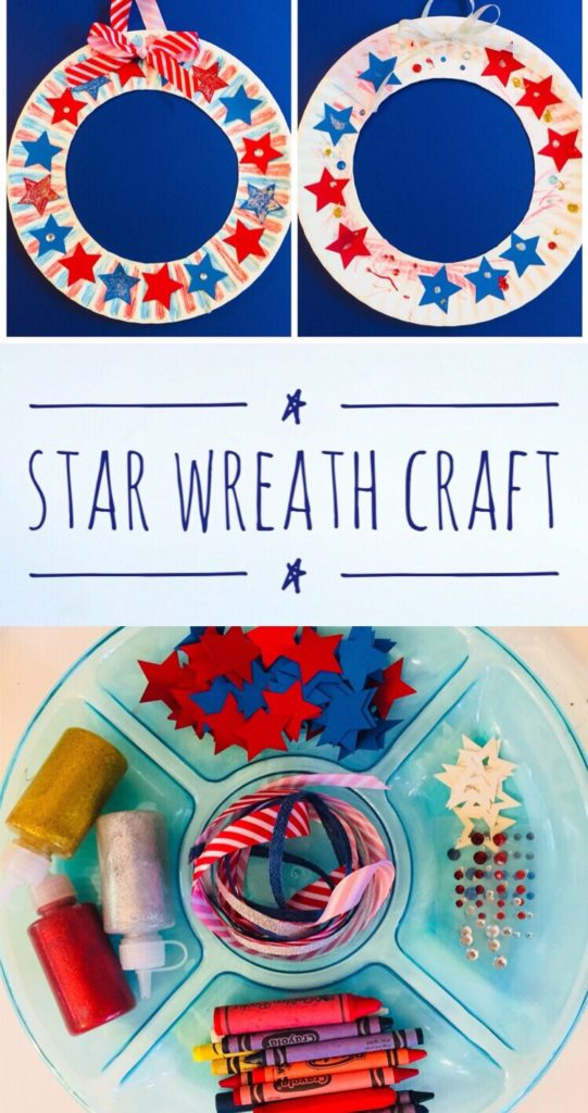 Patriotic Star Wreath Paper Plate Craft for Kids