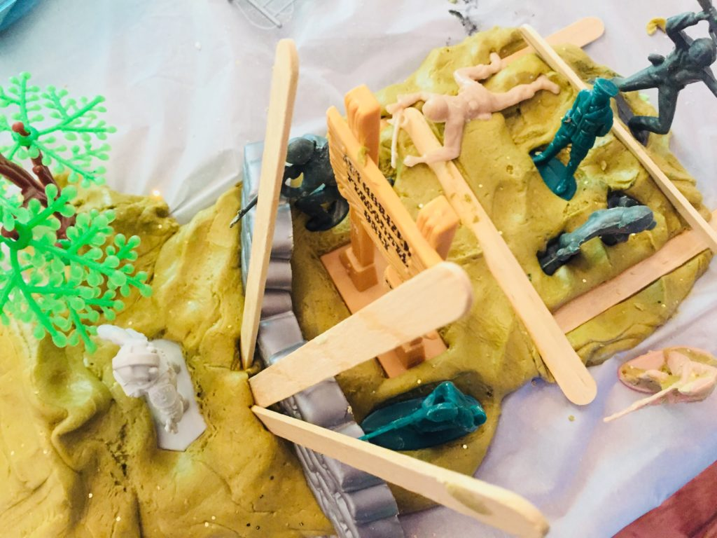 Army Men Cloud Dough Creative Activity