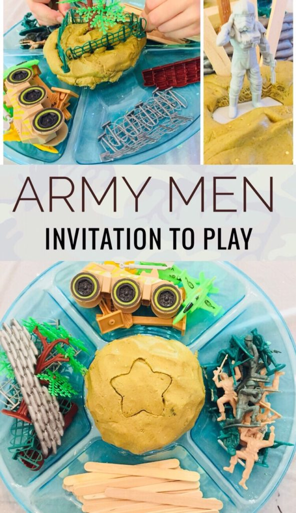 Creative Play Idea for Elementary School Aged Boy - Army Men Cloud Dough Invitation to Play