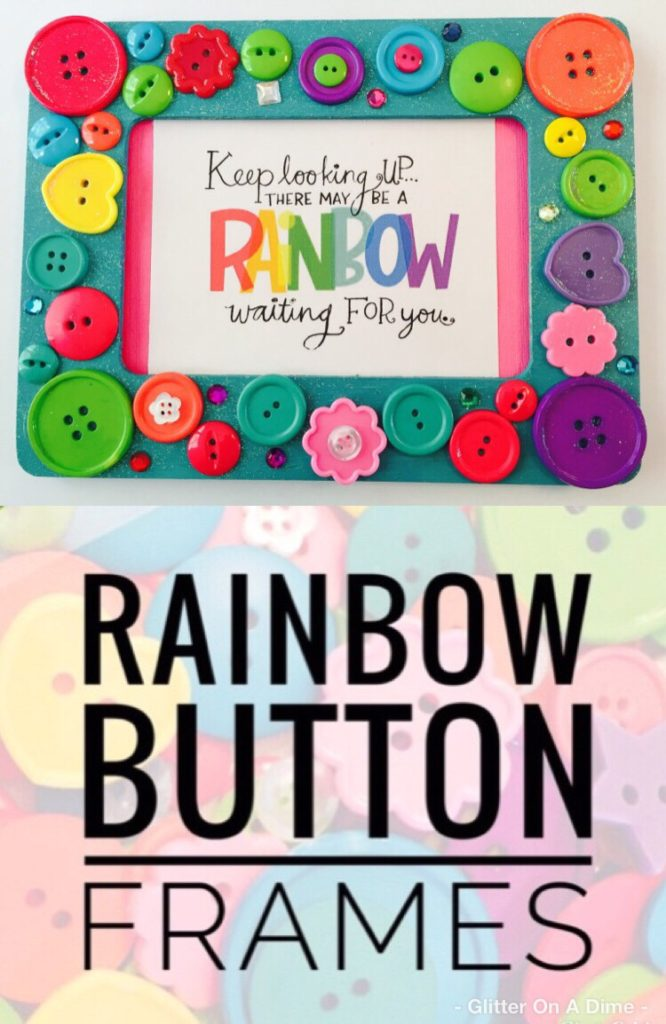 Rainbow Button Frames - Cheap and Easy Craft to do with Kids
