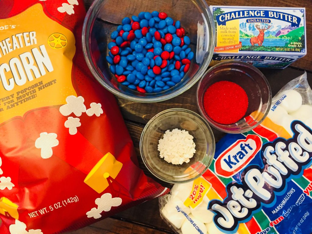 Patriotic Popcorn Cake Ingredients