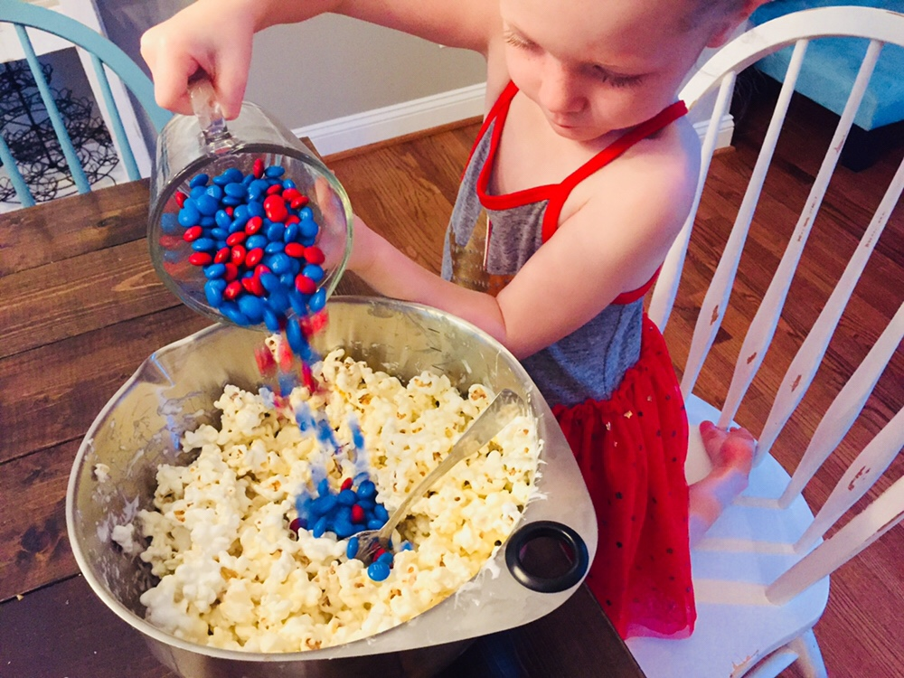 Patriotic Popcorn Cake is a fun recipe to make with kids!