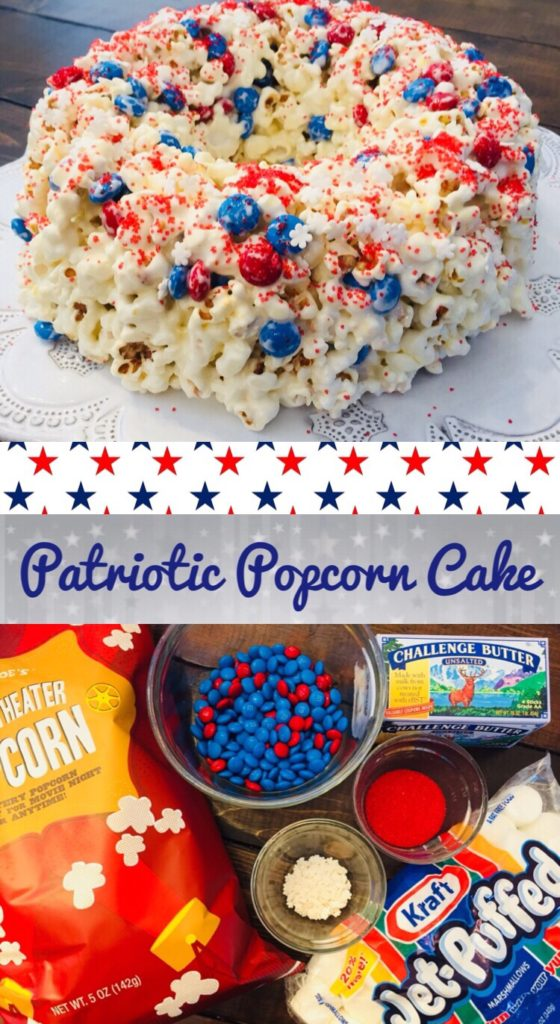 This recipe for Patriotic Popcorn Cake is so simple and perfect to make with kids. You only need a few ingredients and it would be perfect to take to a picnic or 4th of July party!