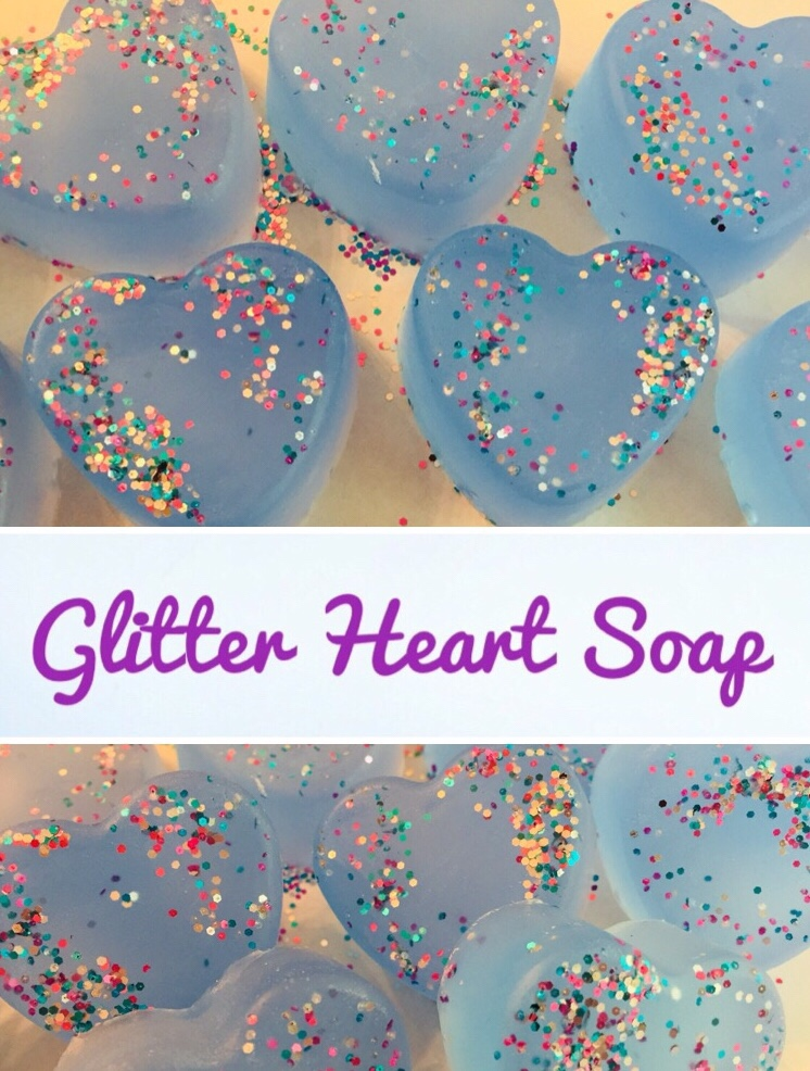 Simple Glitter Heart Soaps are a fun and easy craft. They would make super cute party favors or gifts.