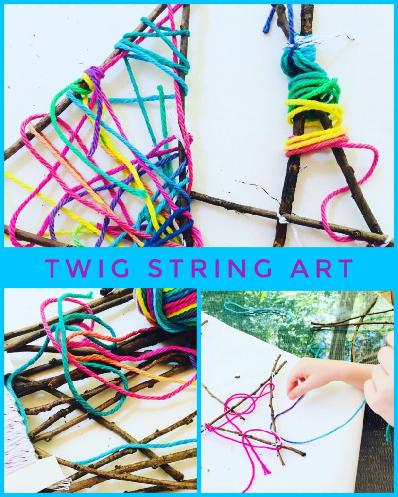 Twig String Art made with Rainbow Yarn