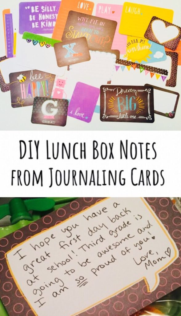 DIY Lunch Box Notes - Perfect way to use up extra scrapbooking supplies like journaling cards!