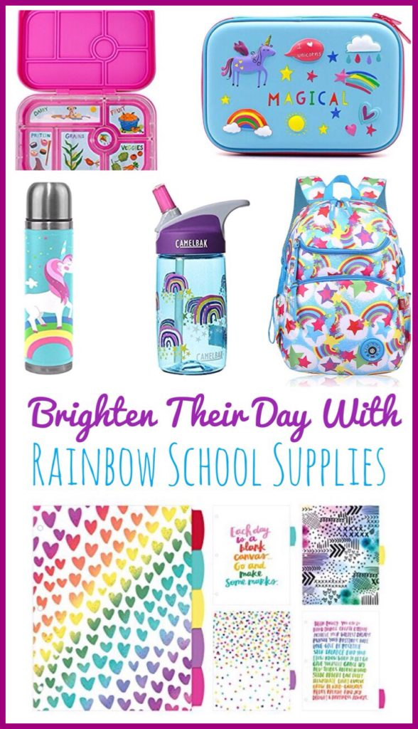 Rainbow Themed School Supplies are sure to brighten your child's day! Super cute water bottles, backpack and lunchboxes that are perfect for back to school!