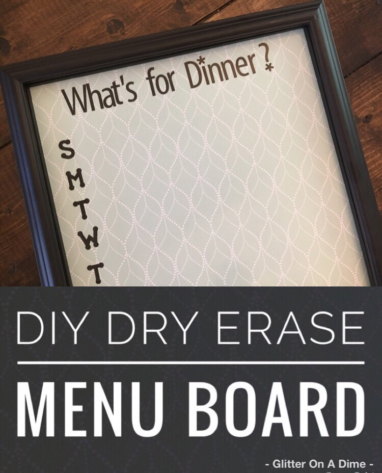 Create a DIY Dry Erase Menu Board in under 30 minutes with these easy steps! Use a frame, paper, and stickers you already have for an inexpensive DIY project.