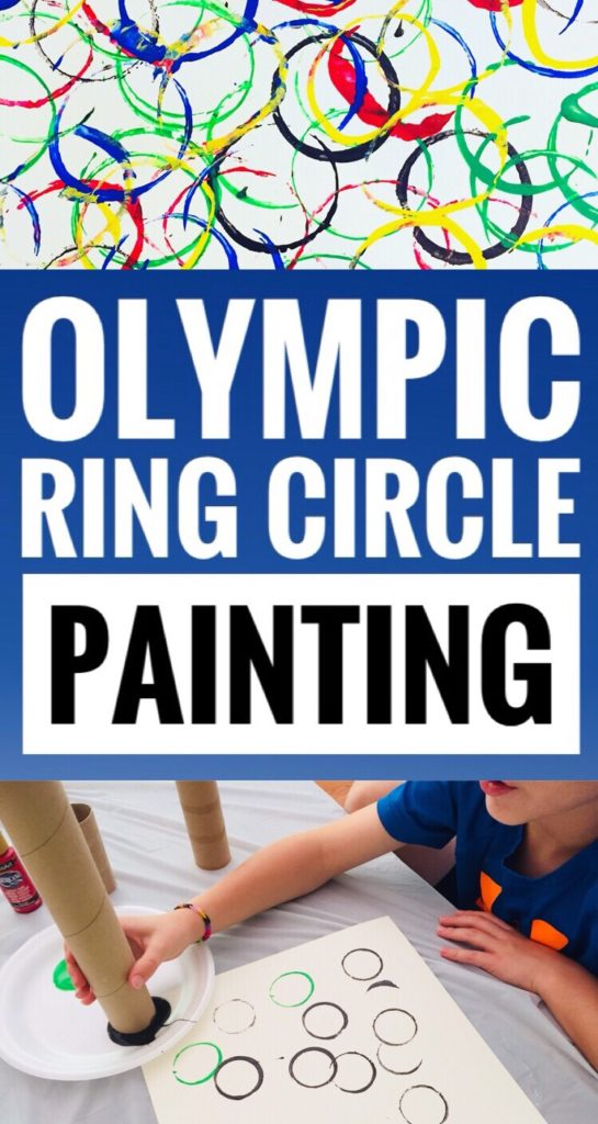Olympic Ring Circle Painting is a fun and easy craft to do with kids of all ages. By using cardboard tubes it makes it especially easy for preschoolers to paint. #preschool #kidscraft #kidsart #artforkids #craft