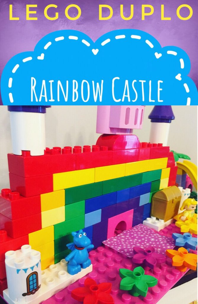Build a Rainbow Castle from Lego Duplo Blocks for a great color sorting activity for preschoolers! Kids will love building this for imaginative play! #legos