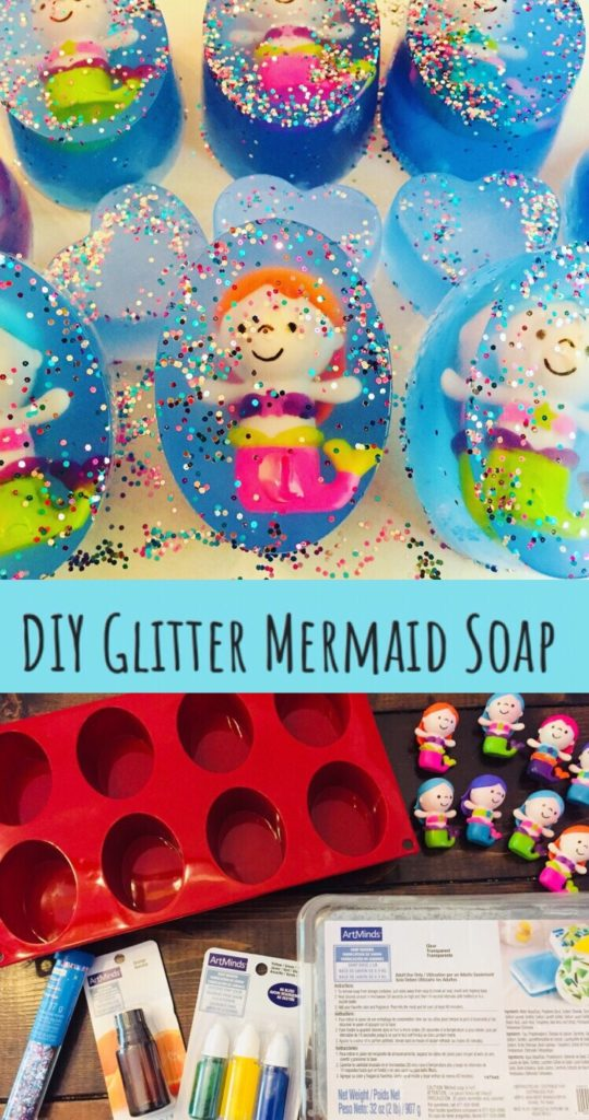 DIY Glitter Mermaid Soap is so easy to make and such a fun idea for kids! There is a hidden toy in each bar of handmade soap to encourage them to wash their hands so they can get to the toy mermaid inside!  Great for party favors for a mermaid party!