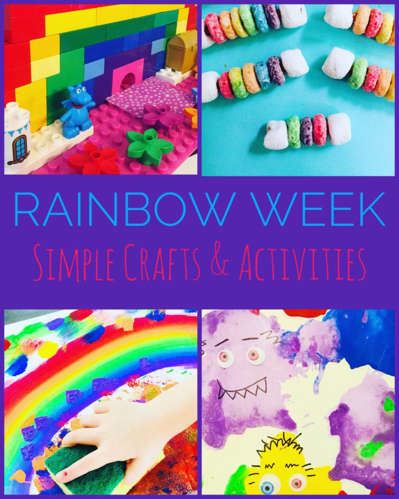 These Easy Rainbow Crafts and Activities for Kids are super fun and will be sure to brighten your day! Lots of fun ideas such as rainbow lego building, sponge painting, book based crafts, and snacks. #rainbows #crafts