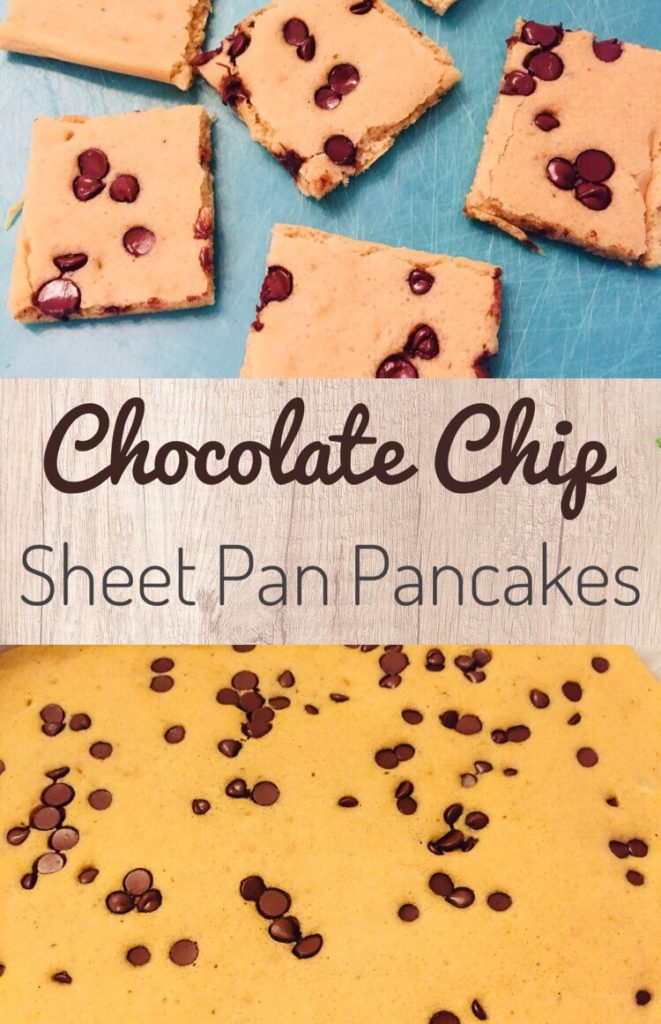Chocolate Chip Sheet Pan Pancakes are a perfect way to meal prep breakfast. Kids will love this yummy freezer friendly breakfast for those busy back to school mornings.