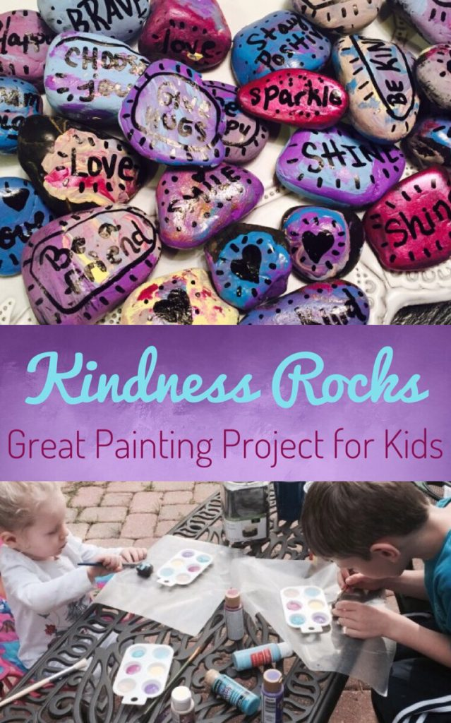 Painting Kindness Rocks with inspirational words is a great activity to do with your kids. Place them around your community to brighten someone else's day! #kindness