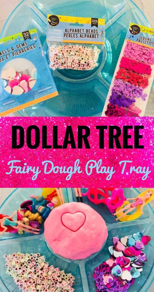 Create a Fairy Dough Play Tray with items from the Dollar Tree.