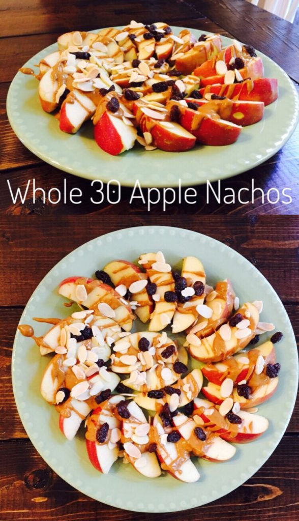 Whole 30 Apple Nachos are great for fall and football! Survive the temptations by bringing your own healthy snack!