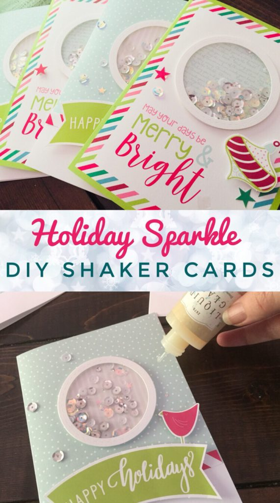 Quick & Easy Holiday Sparkle Shaker Cards are beautiful handmade cards to send to your friends and family this Christmas Season.