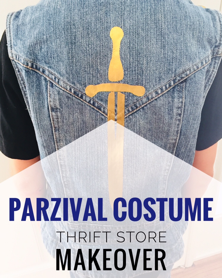 DIY Parzival Costume from a Thrift Store Makeover. All you need is a jean jacket or vest and a brown belt. Parzival is my son's favorite character from the book and movie Ready Player One.