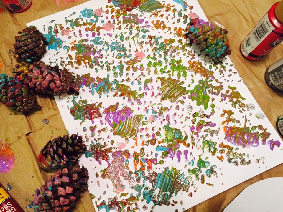 Pinecone Painting Turkey Craft