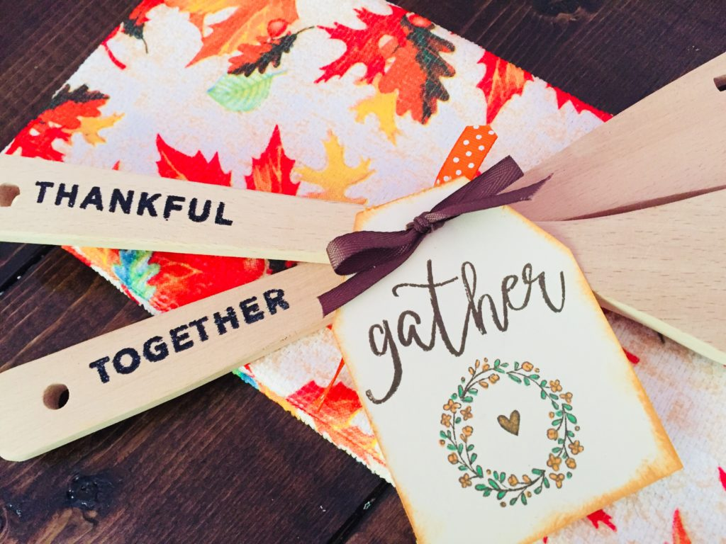 DIY Thanksgiving Hostess Gift - Hand Stamped Heat Embossed Wooden Utensil Set