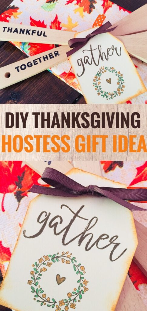 DIY Thanksgiving Hostess Gift - Hand Stamped Heat Embossed Wooden Utensil Set using the Close to My Heart Thanks & Giving Stamp of the Month.
