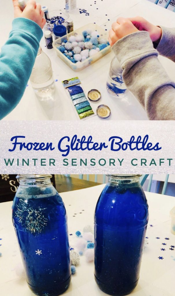 Frozen Glitter Bottles are a great winter sensory craft! Perfect preschool activity for cold days!