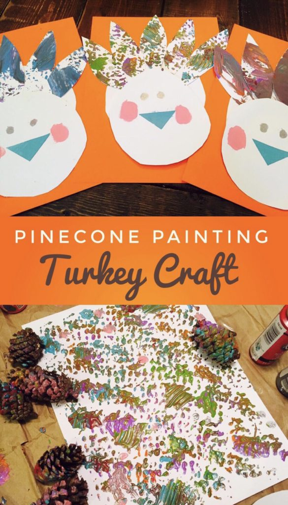 Pinecone Painting Turkey Craft - process art craft that is perfect for the month of November!