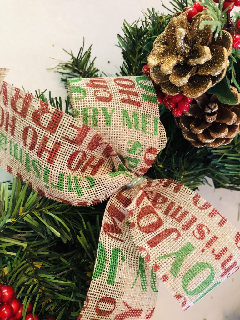 Burlap Ribbon Wreath from Dollar Tree