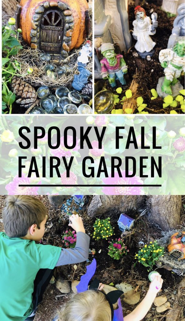 Creating a Spooky Fall Fairy Garden with Dollar Tree Supplies - Miniature Mums were the perfect flowers for this magical space