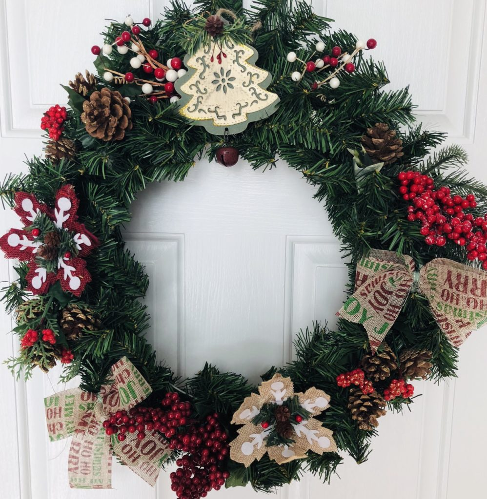 Dollar Tree Christmas Wreath Makeover