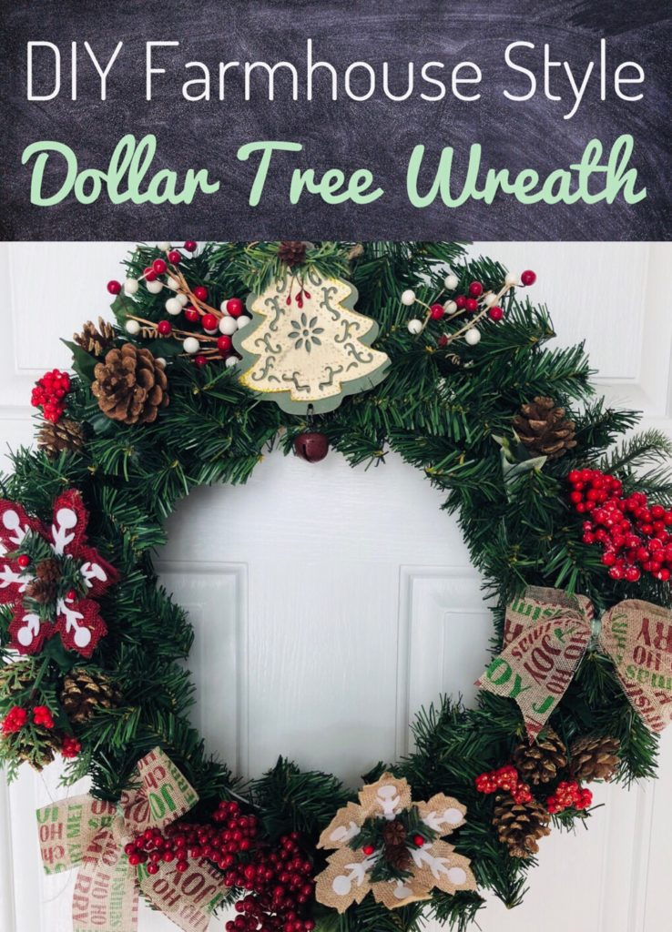 DIY Farmhouse Style Dollar Tree Wreath for Christmas