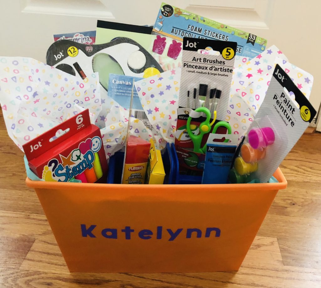 Dollar Tree Arts and Crafts Gift Basket - Glitter On A Dime