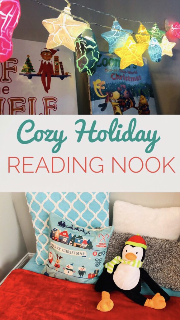 Create a cozy holiday reading nook with soft blankets, stuffed animals, fairy lights and holiday themed books.