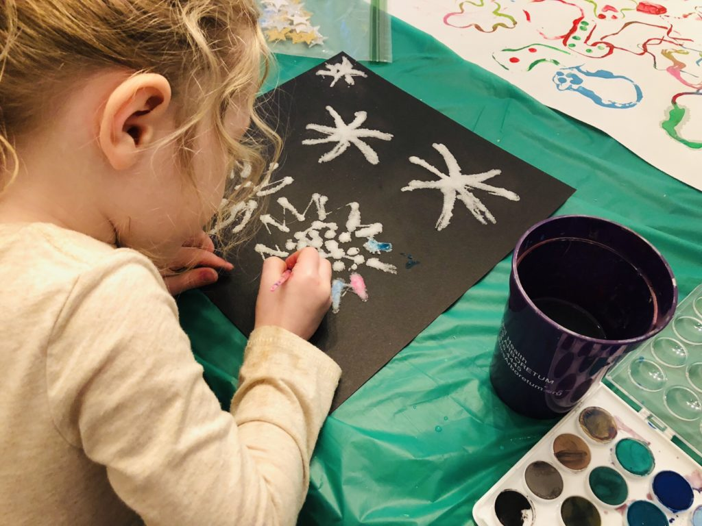 Salt painting with kids
