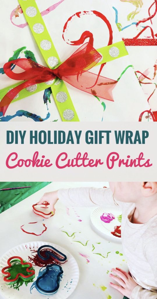 Cookie Cutter Painting Gift Wrap - Easy and Cheap art project to do with kids!