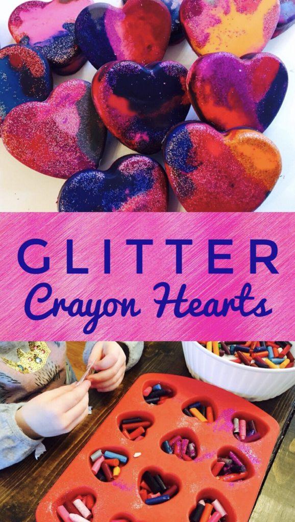 Glitter Crayon Hearts