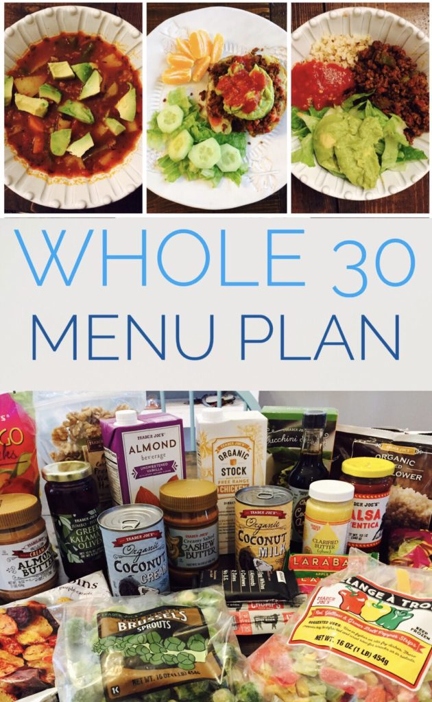 Whole 30 Meal Plan - A week of ideas for Whole 30 Meals for breakfast, lunch, and dinner! Lots of product ideas and tips.