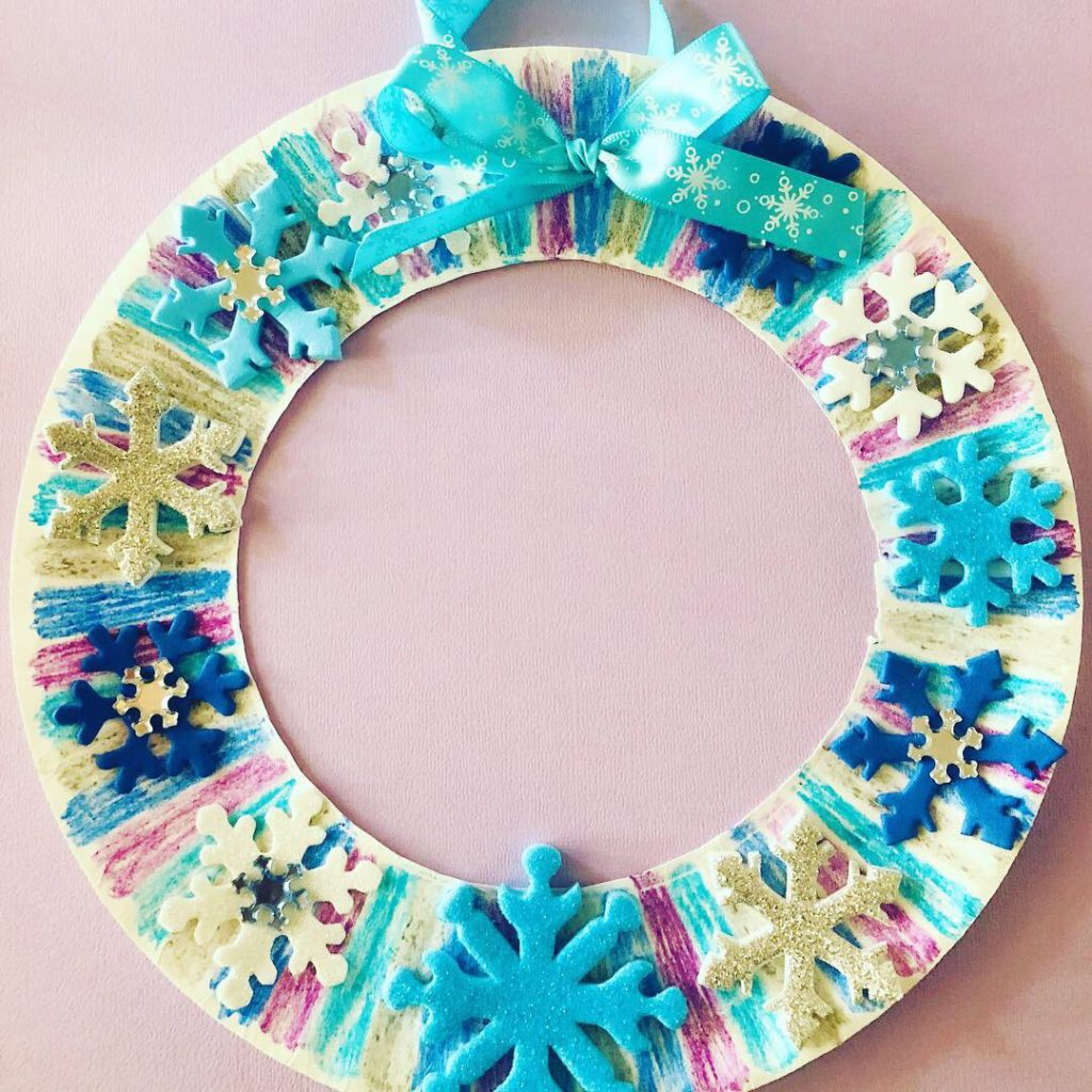 Winter Snowflake Paper Plate Wreath Craft
