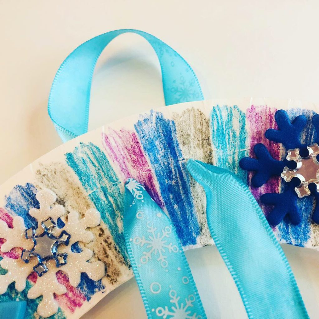 Winter Paper Plate Wreath Craft for Kids