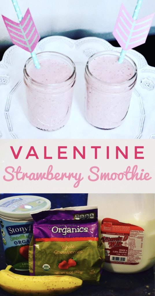 Make your kids feel special with this Valentine Strawberry Smoothie! It's a healthy treat but tastes like a milkshake.