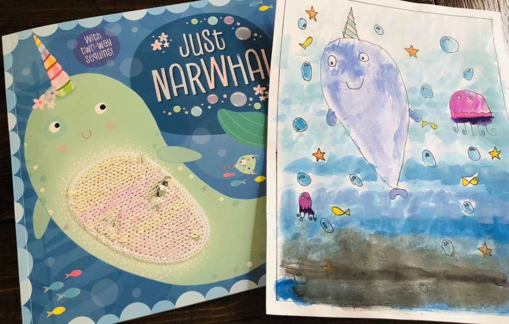 Just Narwhal Watercoloring Book Craft