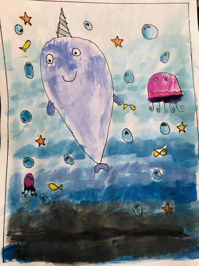 Narwhal Watercolor Craft for Kids